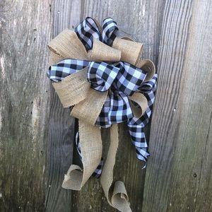 Handmade holiday Christmas bow buffalo plaid cute